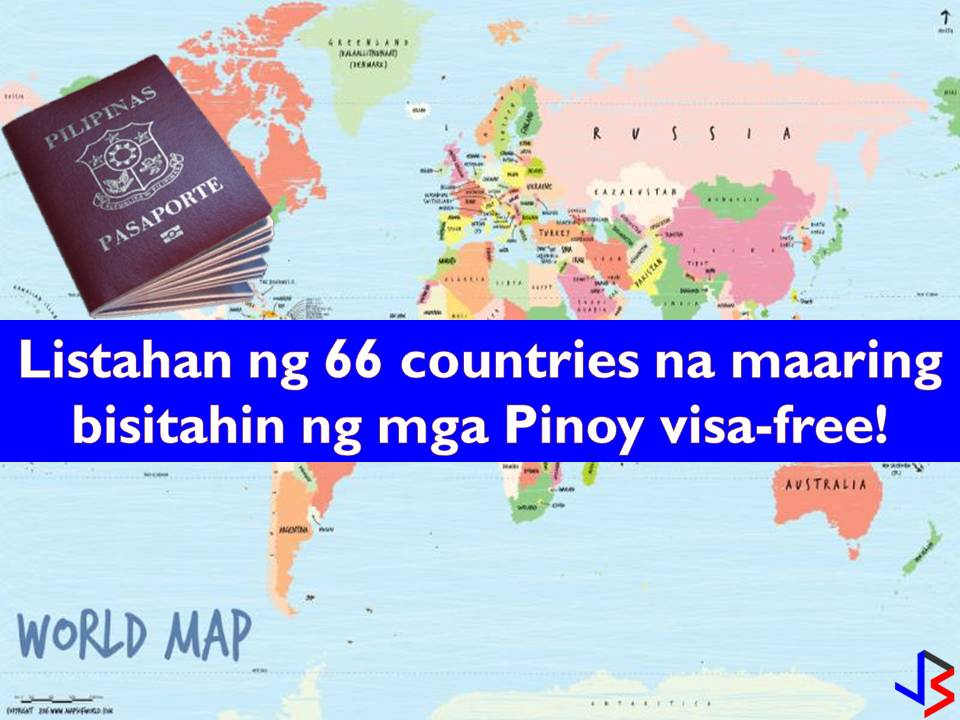 Are you a Philippine passport holder? Is yes, you can now visit 66 international destinations this year visa-free! With this, the Philippine passport is now the seventh strongest in Southeast Asia. This was after three more countries and territories gave the Philippines visa-free access raising the number of countries that offer visa-free access to the Philippines to 66.  Read more: http://www.jbsolis.com/2018/05/complete-list-of-66-countries-where-philippine-passport-holder-can-travel-visa-free.html#ixzz5H98IP8oU