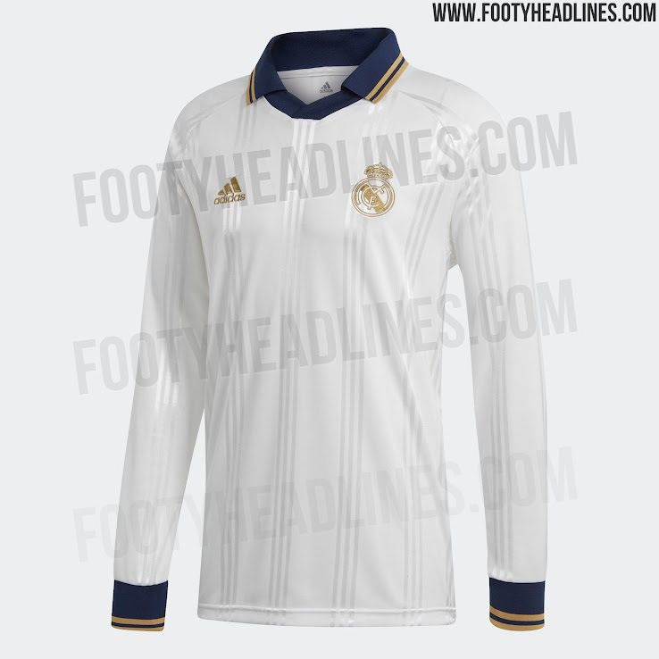 Langärmliges Adidas Real Madrid 2019 Icon Retro Trikot