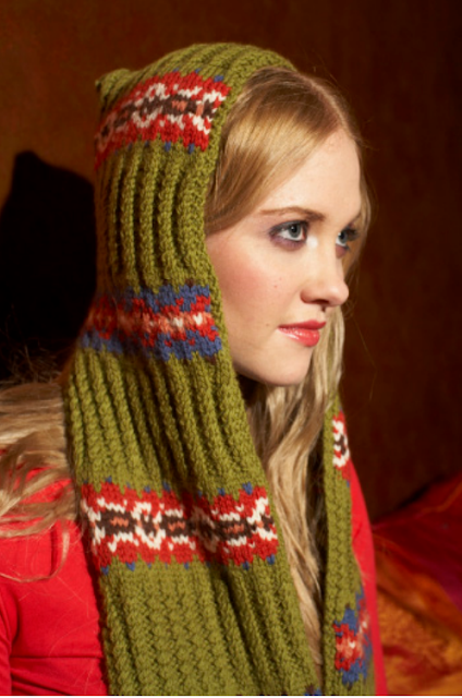 The Vintage Pattern Files: Free 1940's Knitting Pattern - Hooded Scarf with Pockets