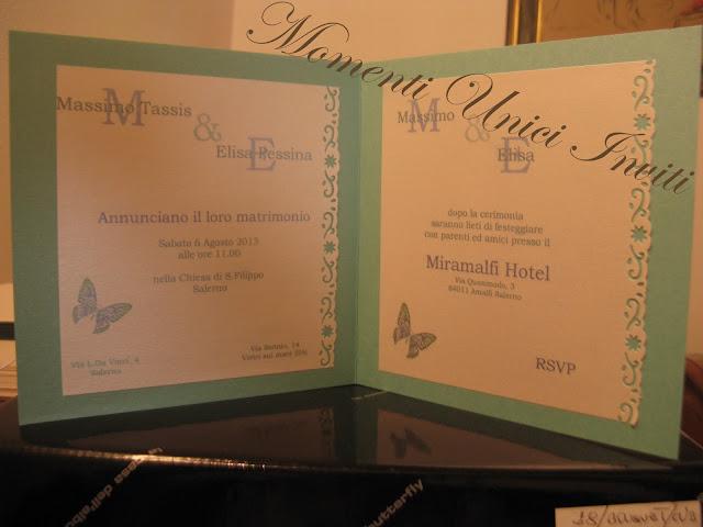 tif+butt Partecipazione card in cartoncino perlescente con farfalla intagliataColore Tiffany