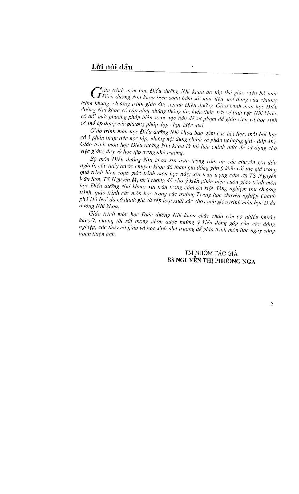Trang 6 sach Giáo trình điều dưỡng Nhi khoa - NXB Hà Nội 2005