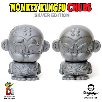 Designer Con 2016 Exclusive Silver Edition Monkey Kung Fu Sofubi Chubs Vinyl Figures by Hyperactive Monkey - Shao Lu & Shao Mei