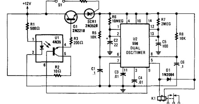 Burglar Alarm With Timed Shutoff Circuit Diagram