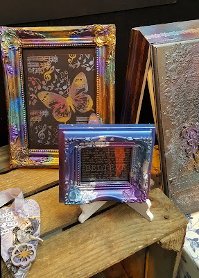 Indigo Blu Mixed media upcycling pictire frame art