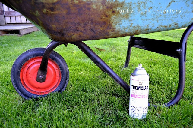 Why I spray sealer on rusted or flaky metal - see how this wheelbarrow transformed into a coffee table!