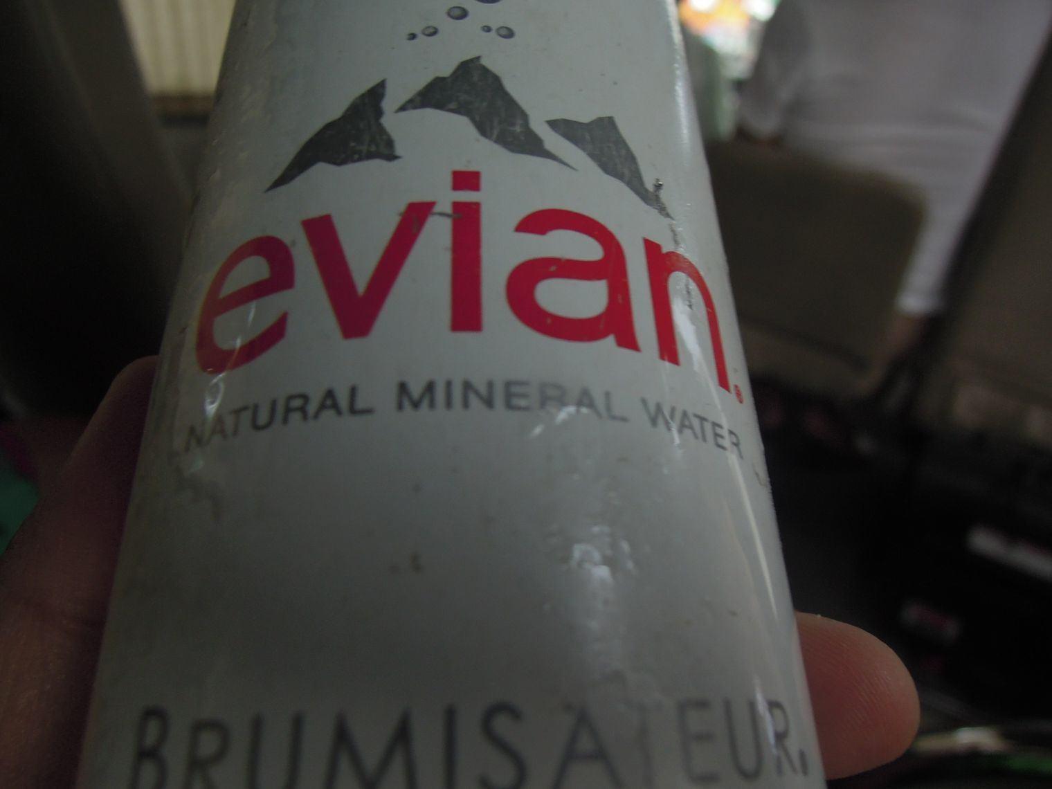 Evian facial spray at Misibis Bay shuttle bus
