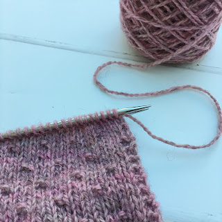 Close up of mitts knit with Hampshire DK