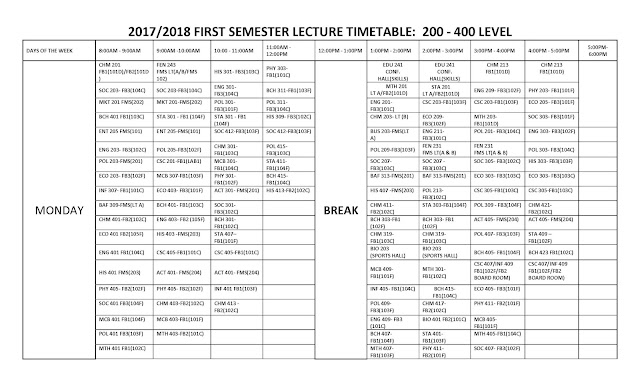 FUOtuoke 2017/2018 1st Semester Lecture Time-Table Schedule