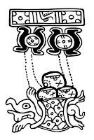 Mayan Turtle and Three Hearth Stones (Firestones), traced from Madrid Codex.
