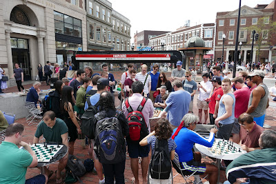 HARVARD SQUARE IN THE PIT: IM JOHN BARTHOLOMEW PLAYS ALL-COMERS FREE // GREAT TIME BY ALL // PROMOTION OF CHESS AS A FUN ACTIVITY //