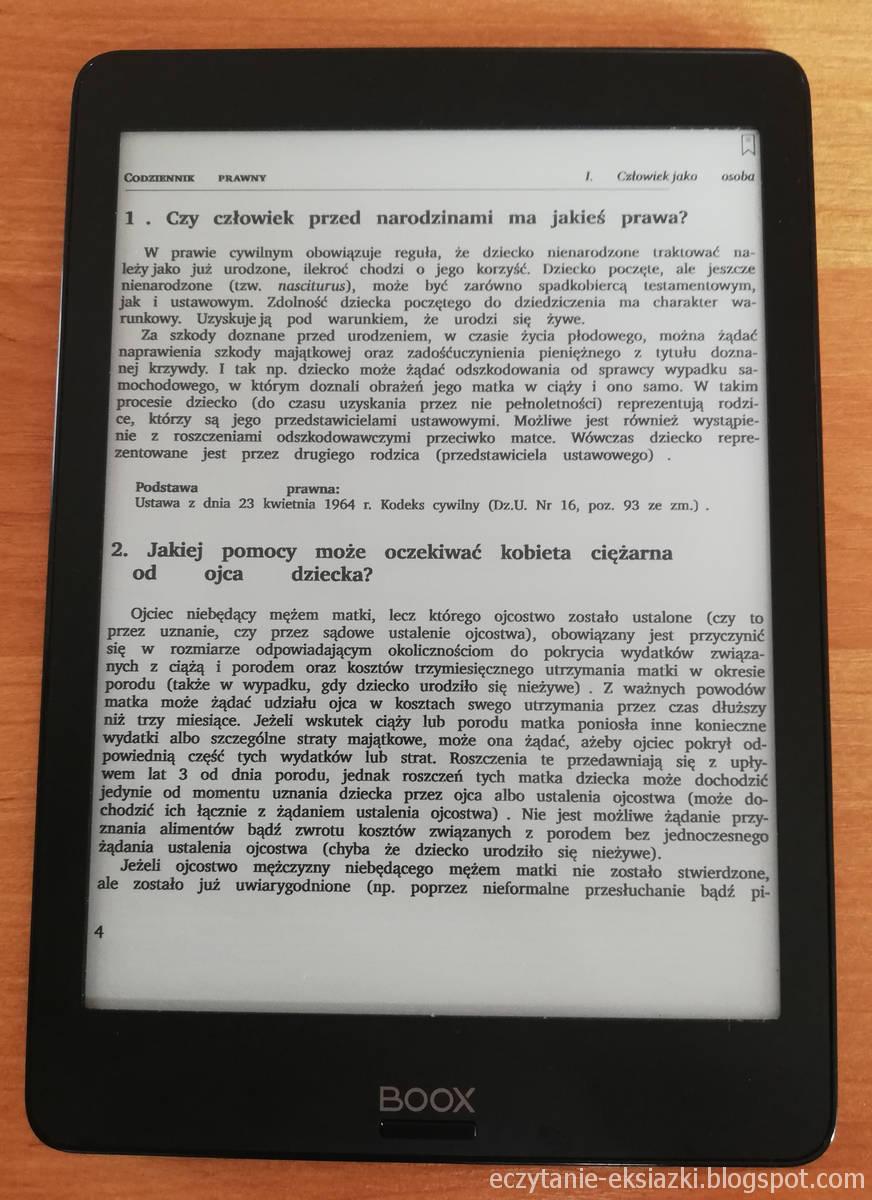 Onyx Boox Nova – plik PDF po zastosowaniu trybu reflow