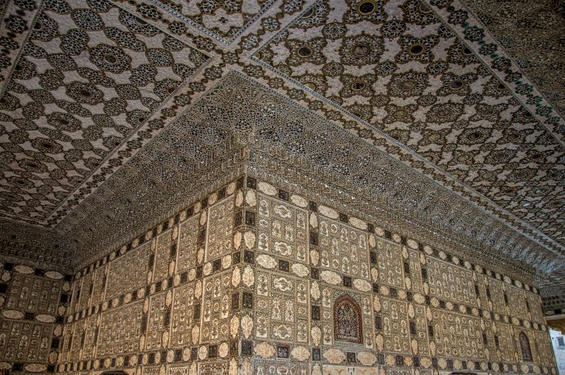 Beautiful ceilings and and walls of Sheesh Mahal studded with mirrors
