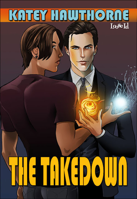 Description: Katey Hawthorne: The Takedown. Two men standing close to each other. One is white, dressed in a three-piece suit, and holds a small fire-ball in his hand. The other is younger, latinx, and looking over his shoulder at the audience. The latter holds a small ball of magical ice.
