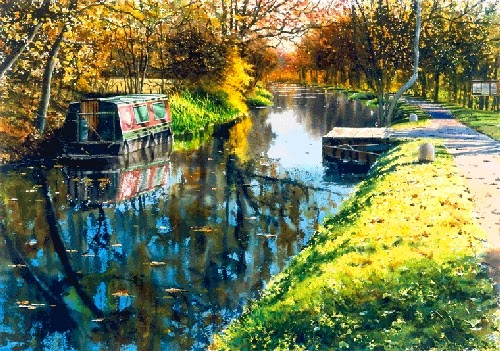22-Wey-&-Arun-Canal-Joe-Francis-Dowden-Photo-Realistic-Watercolour-Paintings-www-designstack-co