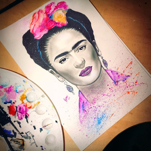 07-Frida-Kahlo-Gina-Iacob-Women-s-Strength-Depicted-in-Portrait-Drawings-www-designstack-co
