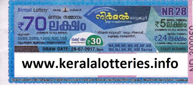 Nirmal (NR-28) Kerala lottery on July 28, 2017