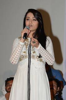 Trisha Stills in White Long Dress at Nayaki Teaser Launch ~ Celebs Next