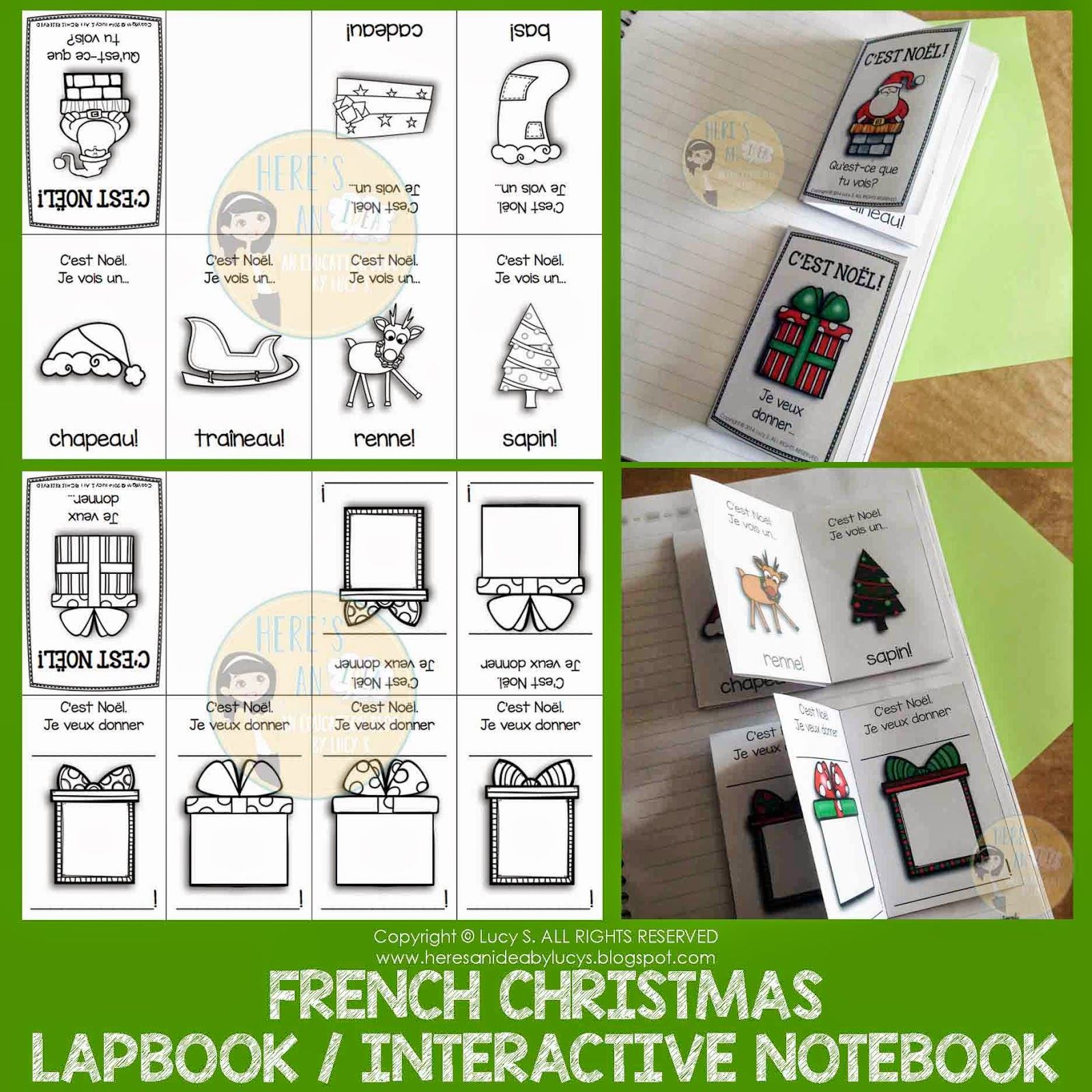French Christmas Interactive Activities for Notebooks or Lapbooks