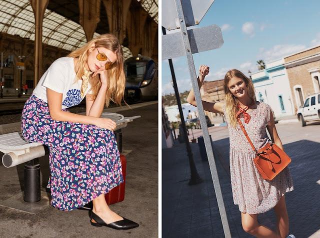 Девушки в платьях с цветочным принтом с шейным платком