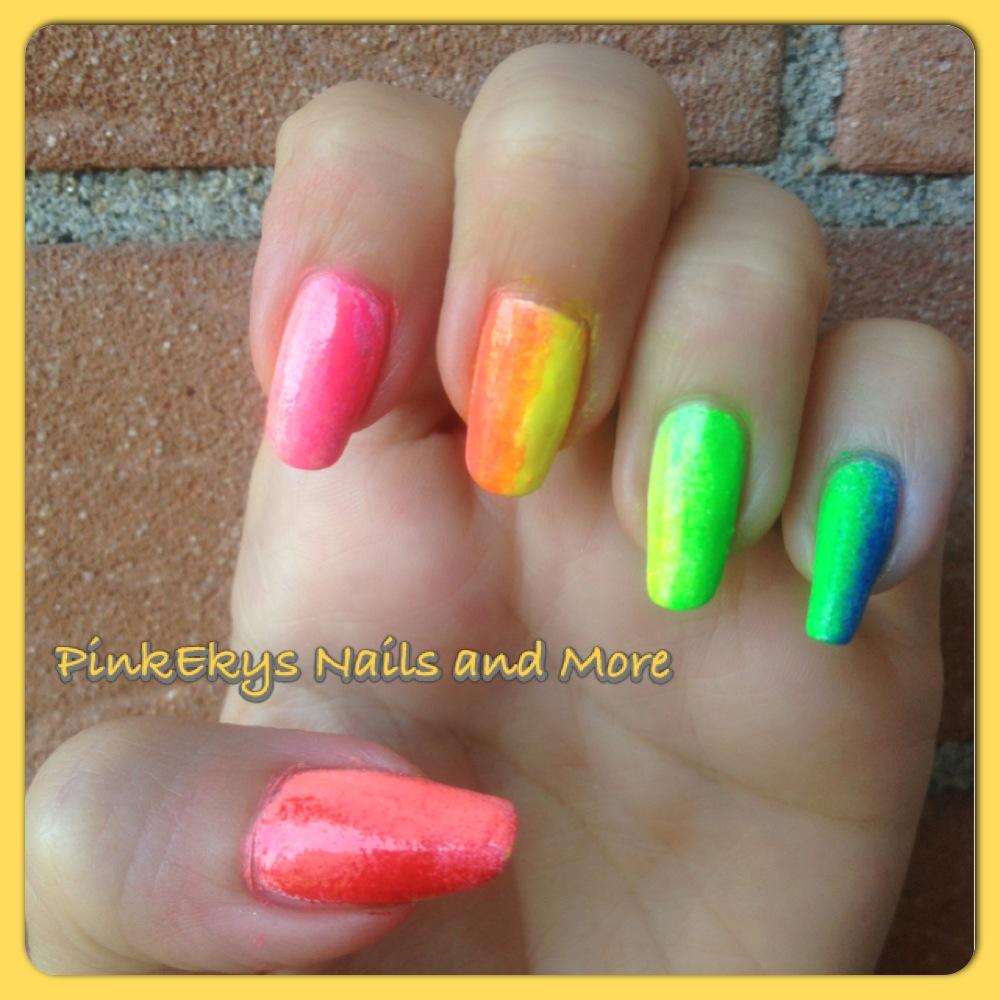 Pinkekys nail tutorial fluo colour nails sfumato con for Colori fluo