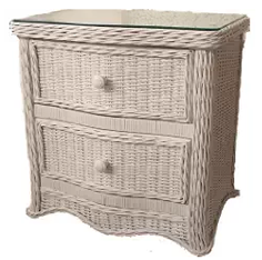 Outdoor Furniture, Wicker Nightstand, Wicker Outdoor Furniture, Florentine Whitewash 2 Drawer Wicker Nightstand with Glass Top