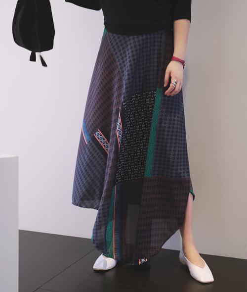 Mixed Pattern Wrap Maxi Skirt