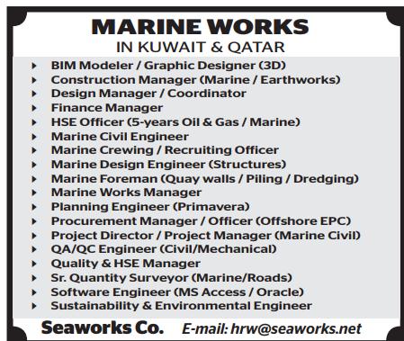 MARINE WORKS IN KUWAIT & QATAR - Qatar Jobs