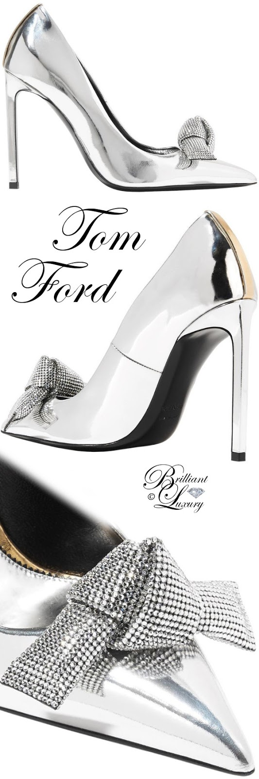 Brilliant Luxury ♦ Tom Ford metallic Swarovski crystal embellished mirrored leather court pumps #silver
