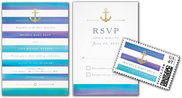 Watercolor Blue Striped Nautical Wedding Invitation Suite