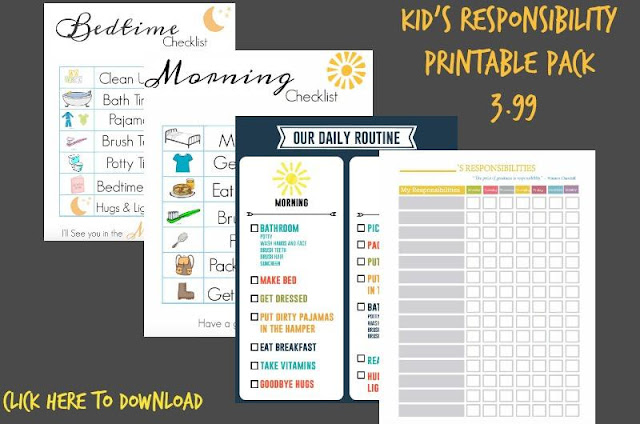 Printable chore chart for kids routine
