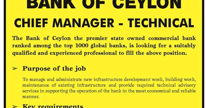 Chief Manager Technical Sri Lanka Vacancies Top