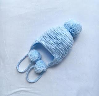 Crochet, Baby Blue Crochet Beanie