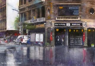 台南 雨の日(水彩画)