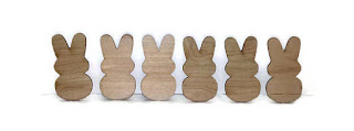 six wooden easter bunny silhouettes