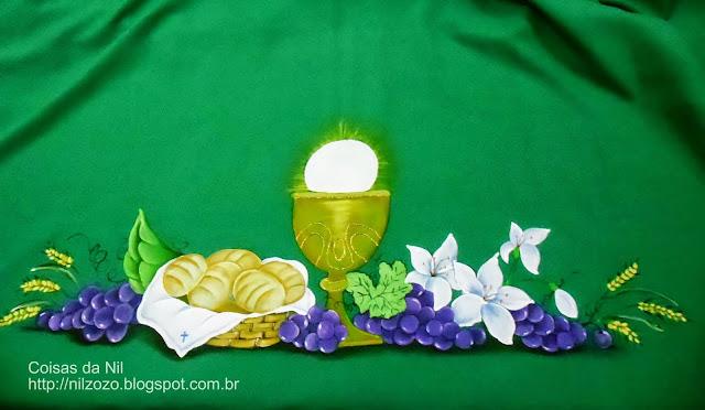 toalha verde pintada para altar da igreja