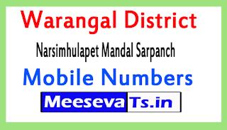 Narsimhulapet Mandal Sarpanch Mobile Numbers List Warangal District in Telangana State
