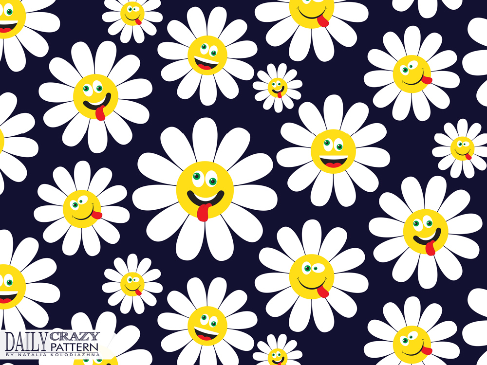 "Funny pattern with crazy daisies for ""Daily Crazy Pattern"" project"
