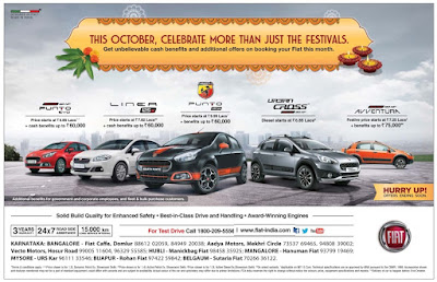 Get unbelievable cash benefits and additional offers on booking your fiat car   October 2016 Diwali/Dassehra festival discount offers