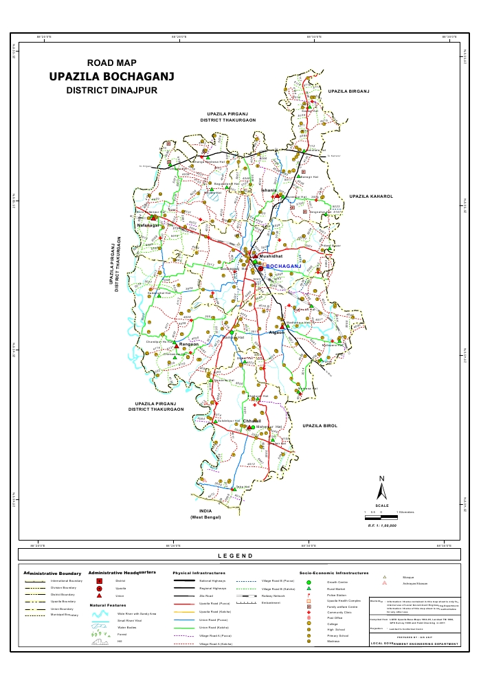 Bochaganj Upazila Road Map Dinajpur District Bangladesh
