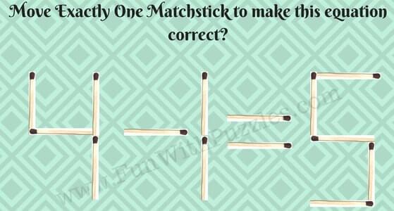 Matchstick Maths Equation Puzzle