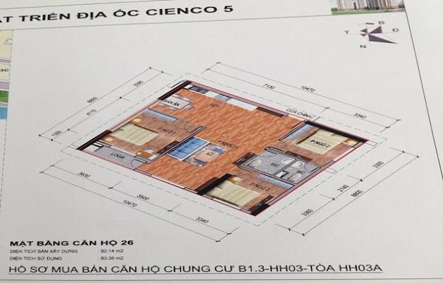 Sơ đồ thiết kế căn hộ 26 chung cư B1.3 HH03A Thanh Hà Cienco 5