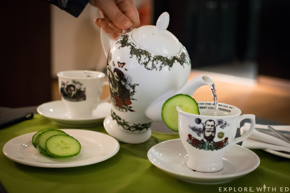 Pouring shot of Hendricks Gin Teapot