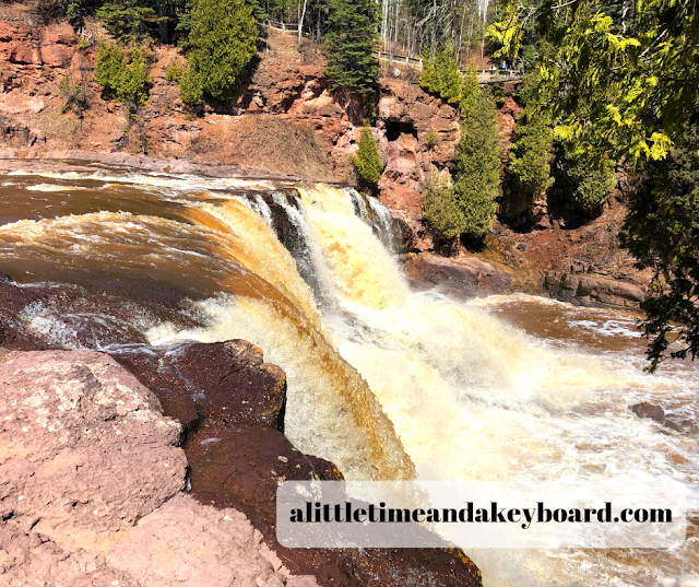 Vantage point of the upper falls at Gooseberry Falls in Minnesota
