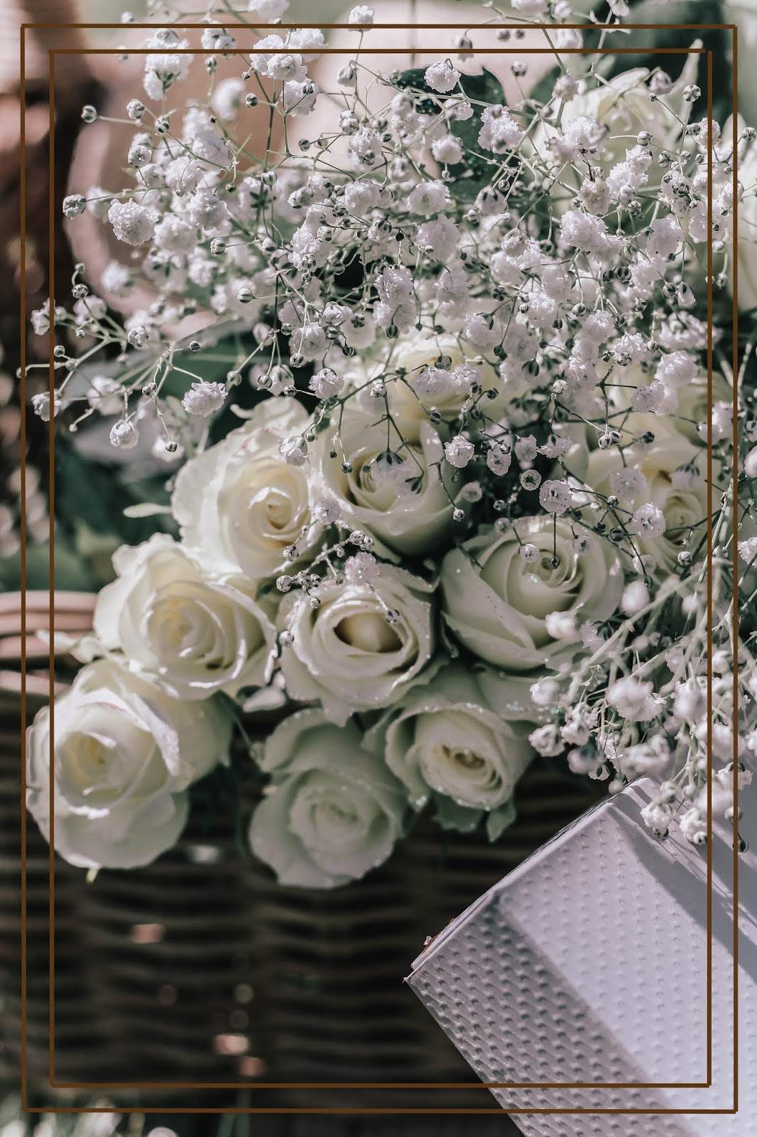 Roses and Gypsophila covered in Glitter