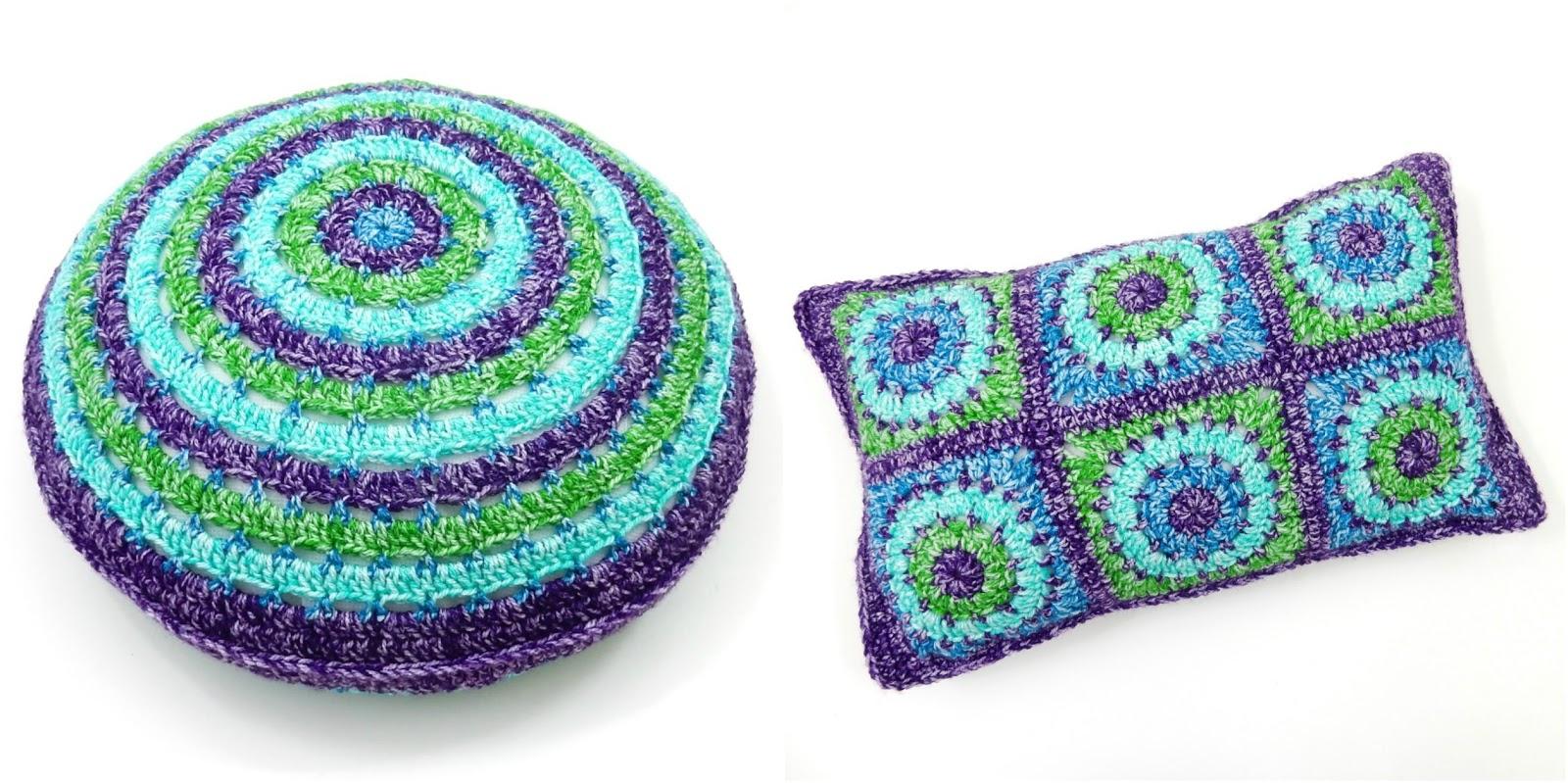 Free Crochet Patterns: Circles & Squares Cushion Covers ...