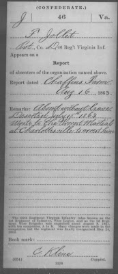 James Franklin Jollett Record of service and desertion during the Civil War  http://jollettetc.blogspot.com
