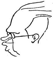 Caricatura de Alekhine, realizada por Casajuana