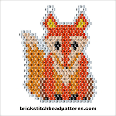 Free brick stitch seed bead earring pattern labeled color chart