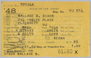 1948 NJ Vehicle Registration for 1949 Nash Sedan owned by W.B. Dixon.