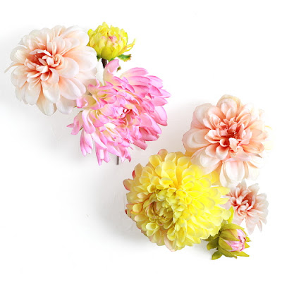 陽色ダリアの髪飾り_ウェディングブーケと花髪飾りairaka